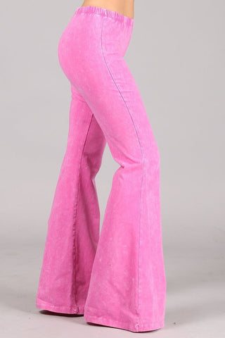 Chatoyant Plus Size Mineral Wash Bell Bottoms Bubble Gum Pink