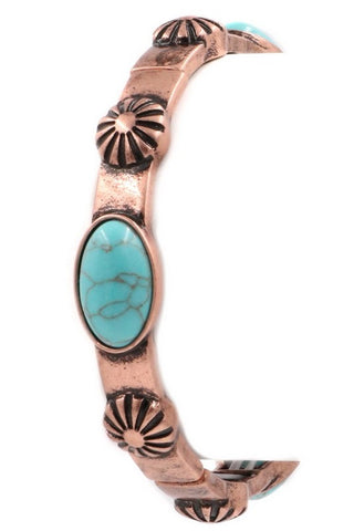 💐  Copper and Turquoise Boho Stretch Bracelet 💐