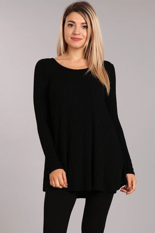 Chatoyant Casual and Cozy Tunic Top Black