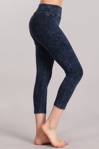 Chatoyant Mineral Wash Crop Leggings Electric Blue