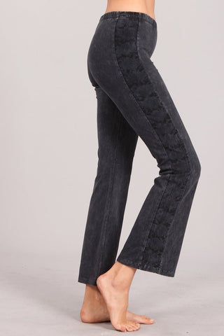 Chatoyant Crop Bell Bottoms With Side Snake Print Dark Ash Gray