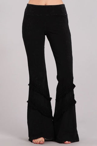 Chatoyant Double Fringe Bell Bottoms Black