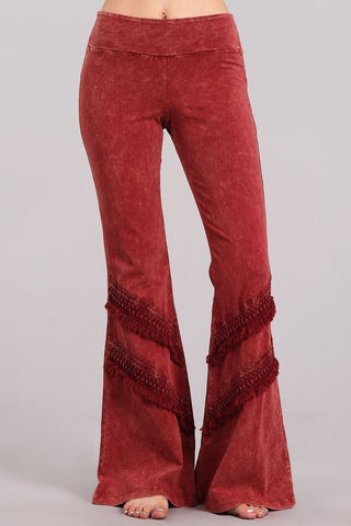 Chatoyant Double Fringe Bell Bottoms Burnt Clay
