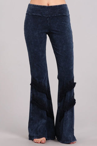 Chatoyant Double Fringe Bell Bottoms Electric Blue