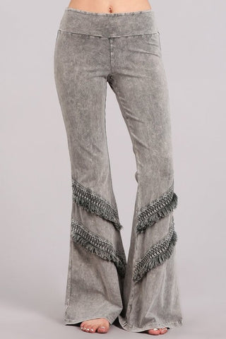 Chatoyant Double Fringe Bell Bottoms Taupe Gray