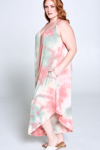 Emerald Plus Size Tie Dye Multi Mint Jumper