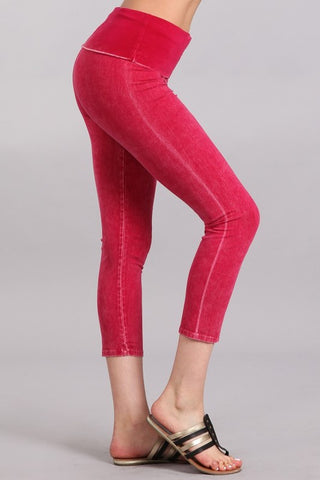 Mineral Wash Fold Over Waist Capris Raspberry