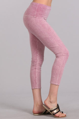 Mineral Wash Fold Over Waist Capris Rose Pink