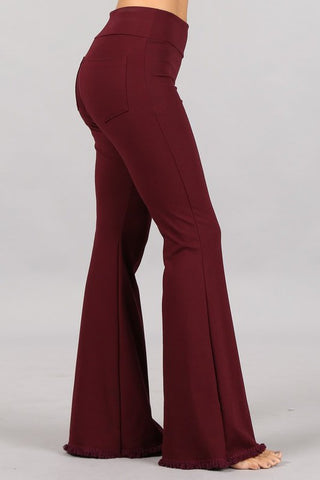 Chatoyant Flared Bell Pants With Frayed Fringe Burgundy