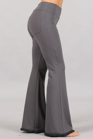 Chatoyant Plus Size Flared Bell Pants With Frayed Fringe Grey