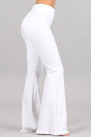 Chatoyant Flared Bell Pants With Frayed Fringe White
