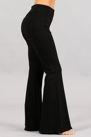 Chatoyant Flared Bell Pants With Frayed Fringe Black