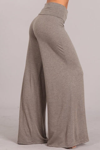 Chatoyant Wide Leg Palazzo Heather Knit Heather Taupe