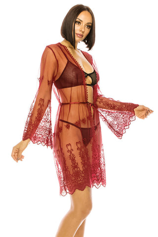 Hot Coral Mesh and Embroidery Robe