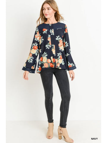 💐 Jodifl Floral Top Navy 💐