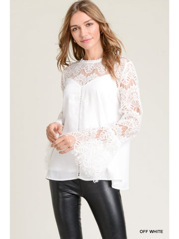 🌻 Jodifl Bell Sleeve Sweetheart Lace Top🌻