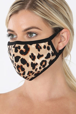 LEOPARD PRINT WASHABLE POLY & COTTON MASK