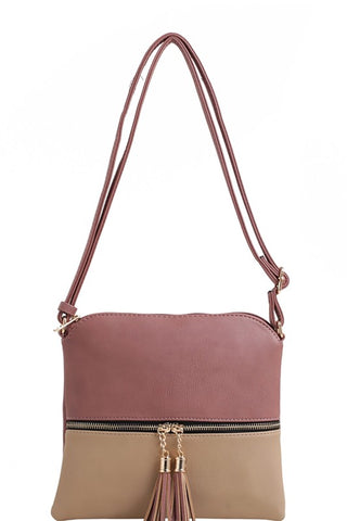 Faux Vegan Leather Two-Tone Front Pocket Tassel Accent Crossbody Mauve Taupe