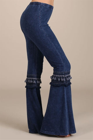 Chatoyant Mineral Washed Bell Bottoms with Fringed Crochet Lace Electric Blue