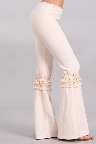Chatoyant Mineral Washed Bell Bottoms with Fringed Crochet Lace Nude