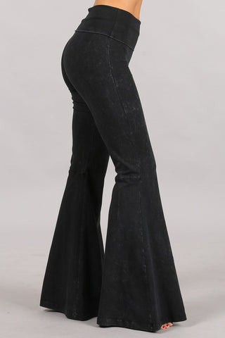 Chatoyant Plus Size Mineral Wash Seam Detail Bell Bottoms Black