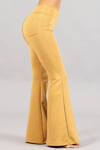 Chatoyant Polyester Blend Bell Bottoms Mustard