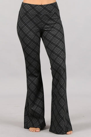 Chatoyant Plaid Print Flared Bell Pants Charcoal Grey