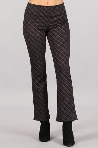 Chatoyant Plaid Print Cropped Pants Maroon