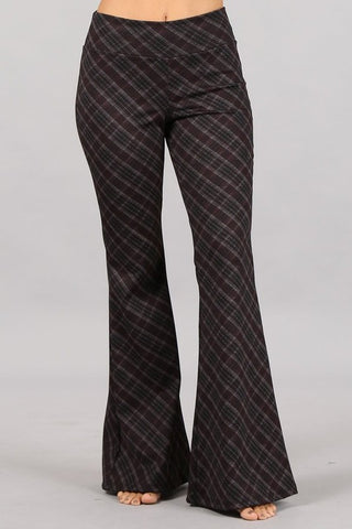 Chatoyant Plaid Print Flared Bell Pants Maroon