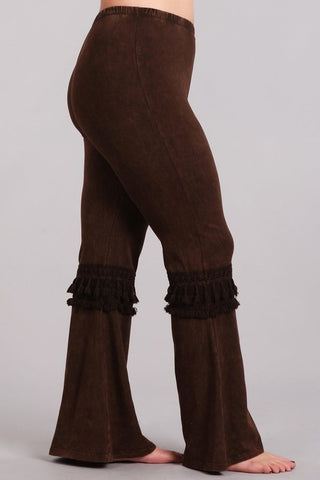 Chatoyant Plus Size Mineral Washed Bell Bottoms with Fringed Crochet Lace Brown