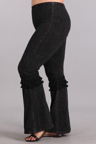 Chatoyant Plus Size Mineral Washed Bell Bottoms with Fringed Crochet Lace Black