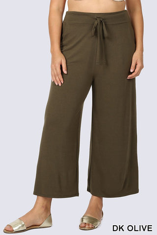Plus Size Cropped Lounge Pants with Side Pockets Dark Olive