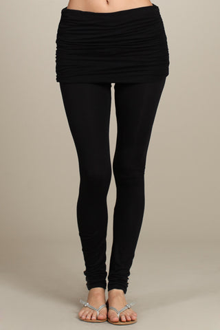 Chatoyant Ruched Fold-over Waistband Leggings Black