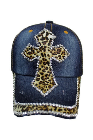 Leopard and Crystal Stud Cross Baseball Cap