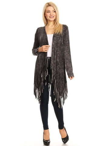 T-Party Mineral Wash Black Fringe Cardigan