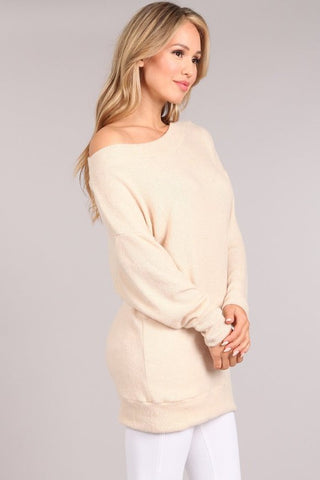 Chatoyant Ultra Soft Brushed Knit Tunic Top Cream
