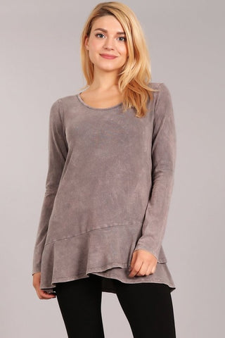Chatoyant Soft and Stretchy Mineral Wash Tunic Desert Taupe