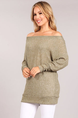 Chatoyant Ultra Soft Brushed Knit Tunic Top Sage