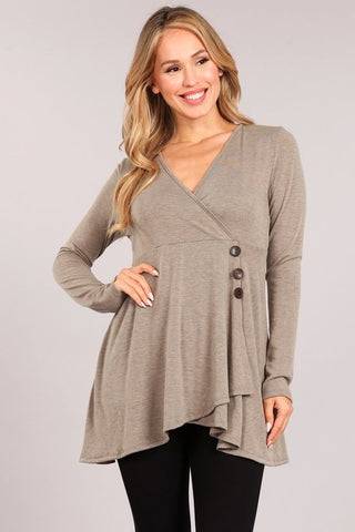 Chatoyant Fabulous Faux Wrap V-neck Tunic Top Taupe Brown