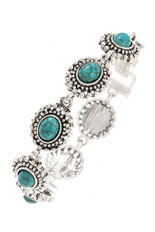 Rhodium and Faux Turquoise Bracelet
