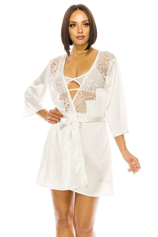 White Satin Robe with Lace