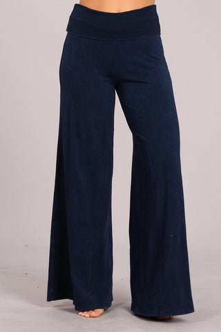 Chatoyant Mineral Wash Wide Leg Palazzo Pants Electric Blue