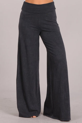Chatoyant Mineral Wash Wide Leg Palazzo Pants Dark Ash Gray