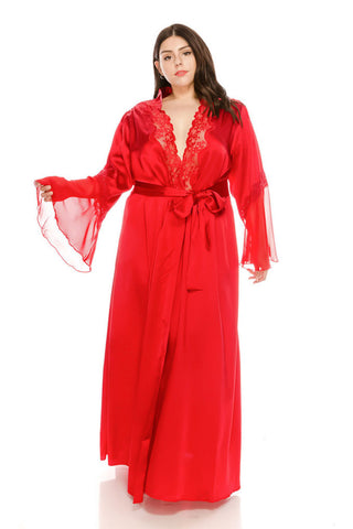 Plus Size Barbados Cherry Long Satin Robes w/Lace