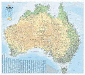 Hema Australia Road & Terrain Map Laminated Tubed 1000x875mm