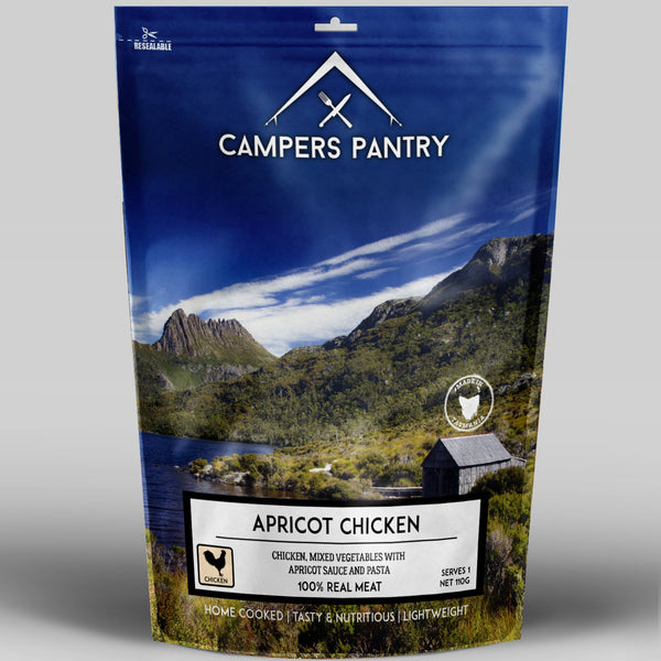 Our freeze dried Apricot Chicken is one of the tastiest backcountry camping meals on the market. Delicious succulent 100% chicken pieces are cooked in a yummy apricot nectar and serves with pasta and vegetables. The freeze dry process locks in the flavours of the chicken and ingredients as well as nutrients. High in protein these hiking meals are perfect for the Three Capes track or even the Overland Track in Tasmania.