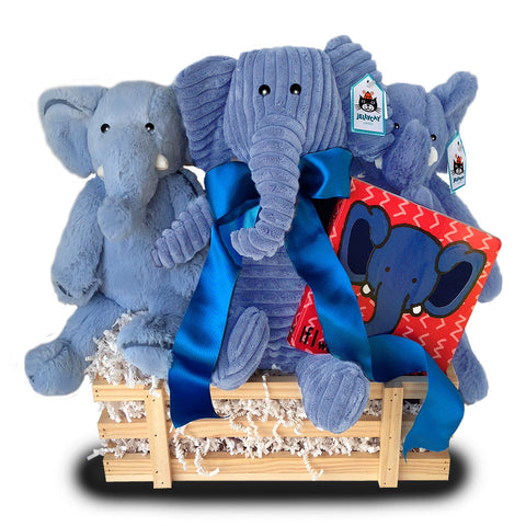Blue Elephant Baby Basket