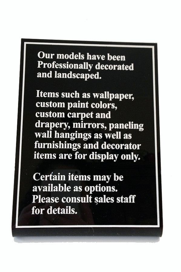 Model Home Disclaimer Plaques with Custom Copy