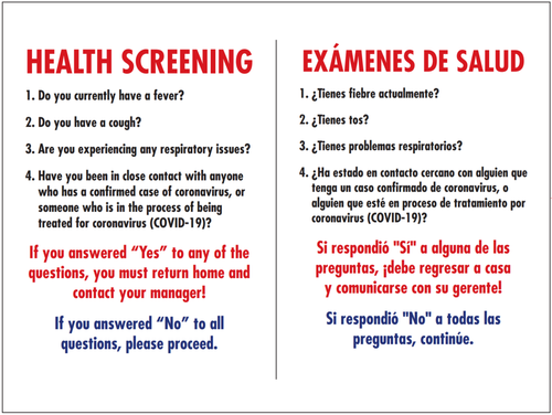 4' x 3' Health Screening Signs