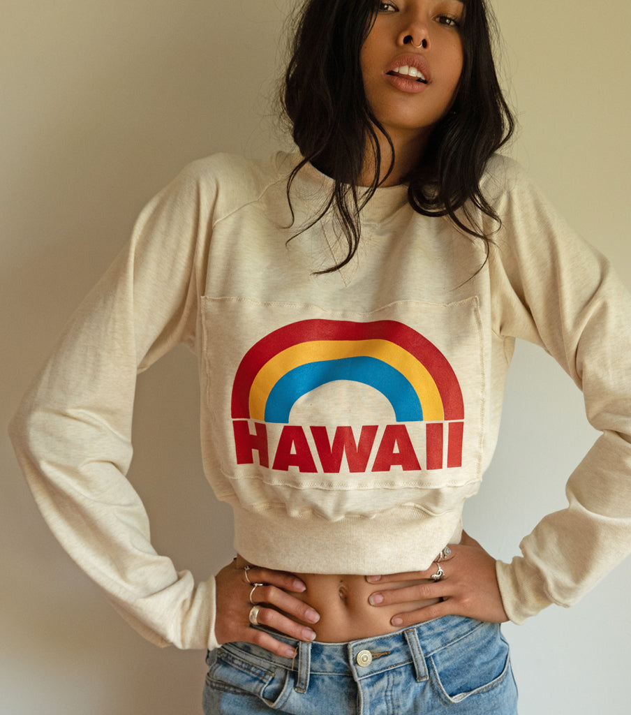 NEW! CROPPED HEMP 'HAWAII' VINTAGE WASH SWEATER